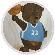 Round Beach Towel featuring the painting Benny Bear Basketball  by Tamir Barkan