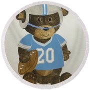 Round Beach Towel featuring the painting Benny Bear Football by Tamir Barkan