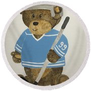 Round Beach Towel featuring the painting Benny Bear Hockey by Tamir Barkan