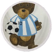Round Beach Towel featuring the painting Benny Bear Soccer by Tamir Barkan