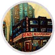 Bens Restaurant Deli Round Beach Towel