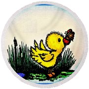 Benson Duck  With Butterfly   Round Beach Towel