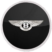 Bentley - 3 D Badge On Black Round Beach Towel
