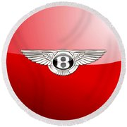 Bentley 3 D Badge On Red Round Beach Towel