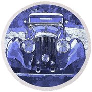 Bentley Blue Pop Art P2 Round Beach Towel