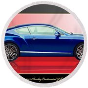 Bentley Continental Gt With 3d Badge Round Beach Towel