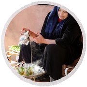 Round Beach Towel featuring the photograph Berber Woman by Andrew Fare