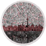 Berlin City Skyline Abstract Round Beach Towel by Bekim Art