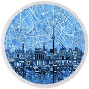 Berlin City Skyline Abstract Blue Round Beach Towel by Bekim Art