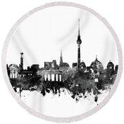 Berlin City Skyline Black And White Round Beach Towel by Bekim Art