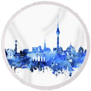 Berlin City Skyline Blue Round Beach Towel by Bekim Art