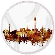 Berlin City Skyline Brown Round Beach Towel by Bekim Art