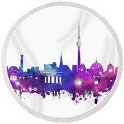 Berlin City Skyline Galaxy Round Beach Towel by Bekim Art
