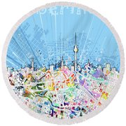 Berlin City Skyline Map Round Beach Towel by Bekim Art