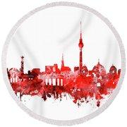 Berlin City Skyline Red Round Beach Towel by Bekim Art