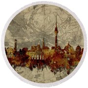 Berlin City Skyline Vintage Round Beach Towel by Bekim Art