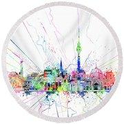 Berlin City Skyline Watercolor 2 Round Beach Towel by Bekim Art