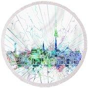 Berlin City Skyline Watercolor 3 Round Beach Towel by Bekim Art
