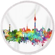 Berlin City Skyline Watercolor Round Beach Towel by Bekim Art