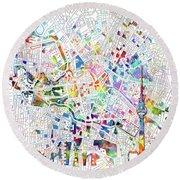 Berlin Map White Round Beach Towel by Bekim Art