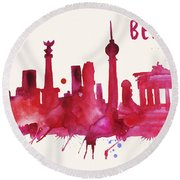Berlin Skyline Watercolor Poster - Cityscape Painting Artwork Round Beach Towel