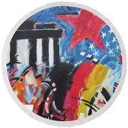 Berlin Wall Art 6 Round Beach Towel