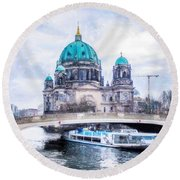 Round Beach Towel featuring the painting Berliner Dom by Chris Armytage