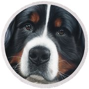 Round Beach Towel featuring the painting Up Close by Donna Mulley