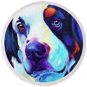 Bernese Mountain Dog - Zeke In Blue Round Beach Towel
