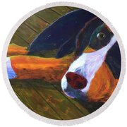 Round Beach Towel featuring the painting Bernese Mtn Dog On The Deck by Donald J Ryker III