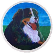 Round Beach Towel featuring the painting Bernese Mtn Dog Resting On The Grass by Donald J Ryker III