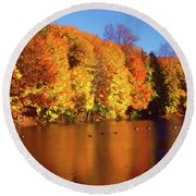 Bernharts Dam Fall 008 Round Beach Towel