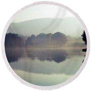 Bernharts Dam Fog 020 Round Beach Towel by Scott McAllister