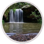 Round Beach Towel featuring the photograph Berowra Waterfall by Werner Padarin