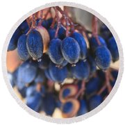 Berries Blue Too Round Beach Towel