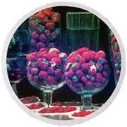 Berries In The Window Round Beach Towel