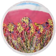 Berry Pink Flower Garden Round Beach Towel