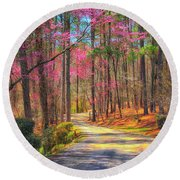 Round Beach Towel featuring the photograph Berry's Back Road by Geraldine DeBoer