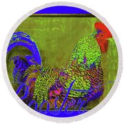 Bert The Rooster Round Beach Towel