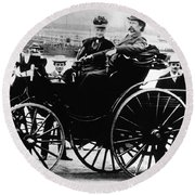 Bertha And Karl Benz, German Auto Round Beach Towel