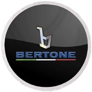 Bertone - 3 D Badge On Black Round Beach Towel