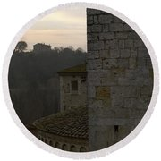 Besalu Spain Round Beach Towel by Henri Irizarri