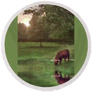 Round Beach Towel featuring the photograph Beside Still Waters by Mark Fuller