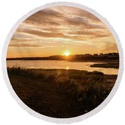 Round Beach Towel featuring the photograph Besides North Rustico Harbor by Chris Bordeleau