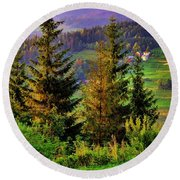 Round Beach Towel featuring the photograph Beskidy Mountains by Mariola Bitner