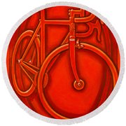 Bespoked In Orange  Round Beach Towel