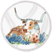 Bessie In The Bluebonnets Watercolor Painting By Kmcelwaine Round Beach Towel