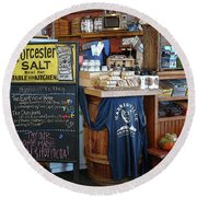 Round Beach Towel featuring the photograph Best Cafe by Betsy Zimmerli