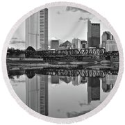 Round Beach Towel featuring the photograph Best Columbus Black And White by Frozen in Time Fine Art Photography