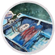 Best Fishing Buddy Round Beach Towel by Marilyn Jacobson